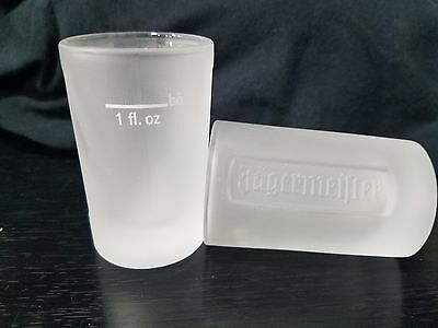 2 Jagermeister Frosted Shot Glasses 1 oz Logo Embossed Pair