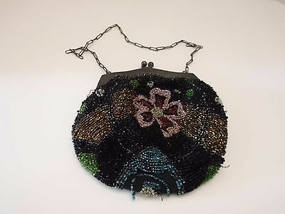 Antique Micro Floral Black Beaded Victorian Purse Hand Bag - Needs some TLC