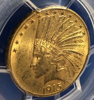 1915 Gold $10 Indian Head PCGS MS62. Beautiful Collector Coin For Collection.