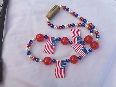 Patriotic Election Necklace Blinky Lights Red White Blue Flags 3 ft.
