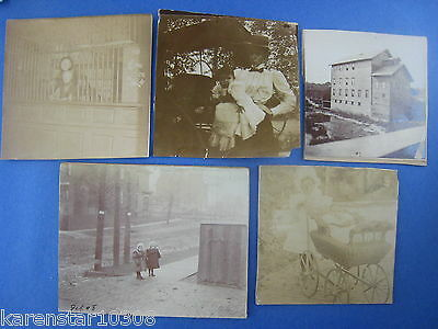Vintage,original Lot Of 5 Photos...1890-1900's...100+ Years Old
