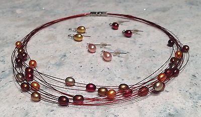 Honora Pearl Multistrand Necklace with 3 Pairs of Earrings