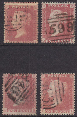 1857 1d PENNY RED STARS X 4 GOOD/FINE  USED