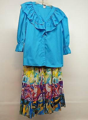 2 Pc Aqua And Print Square Dance Prairie Dress