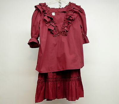 2 Piece Burgandy Square Dance Prairie Dress