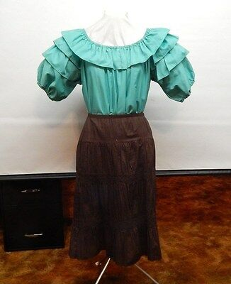 2 Piece Green And Brown Square Dance Prairie Outfit