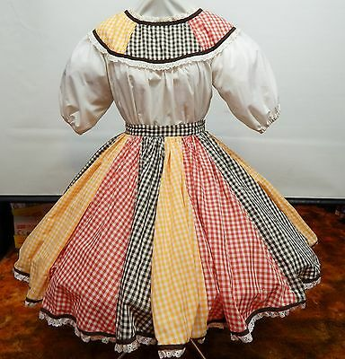 2 Piece Multi Color Check Square Dance Dress