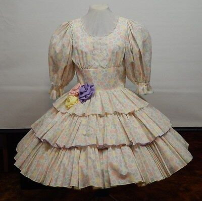 Pastel Floral Print Square Dance Dress
