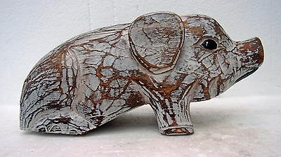 Unusual Shabby Chic Wooden Pig Whitewash Painted Wood Pig 30cm