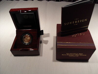 2015 5th Portrait Proof Gold Sovereign with Royal Mint Presentation Case & COA