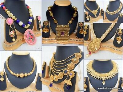 22 Gold plated Polki Kundan Indian bridal bollywood Jewellery necklace earrings