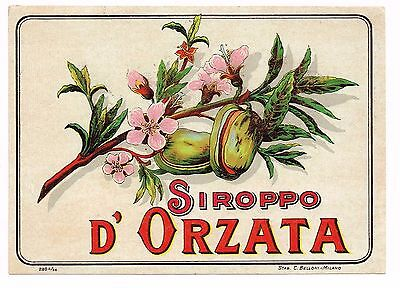 C1900 Bottle Label Chromolithograph Italy Alcohol Original Siroppo Orzata