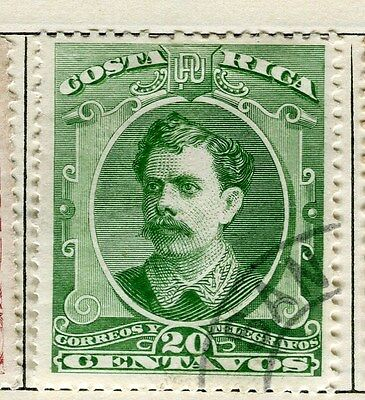 COSTA RICA;  1889 early classic issue fine used 20c. value