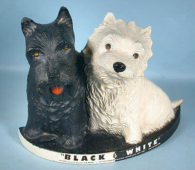 1950s Black & White Scotch Whiskey Advertising Display Composition Terrier Dogs