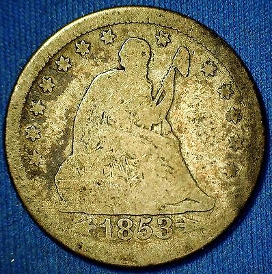 1853-P Seated Liberty Quarter Dollar With Arrows and Rays