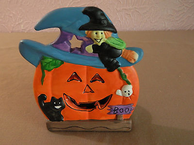"""Halloween Ceramic Tealight Candle Holder Jack O Lantern Witch 5"""" K's Collection"""