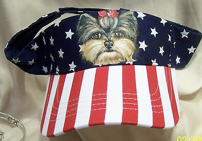hand painted Yorkie dog on cotton stars and stripes visor adjustible