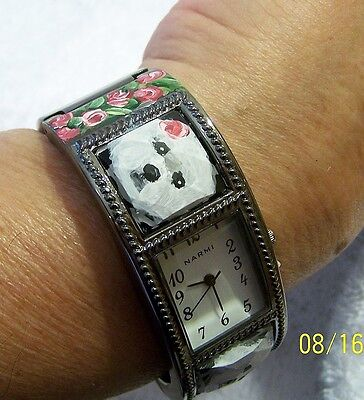 hand painted Bichon Frise on  cuff watch
