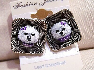 hand painted Bichon Frise on antiqued silver tone stud earrings