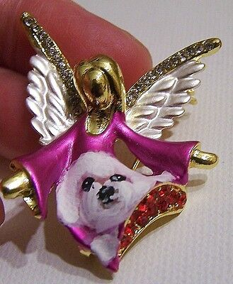 Bichon Frise hand painted angel pin loaded with rhinestones