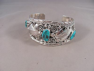 Stabilized Kingman Turquoise and Sterling Silver Bracelet by Thomas Yazzie