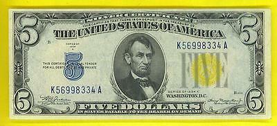 "$5 1934A Yellow Seal ""BEAUTIFUL AU++"" N. AFRICA Silver Certificate!"