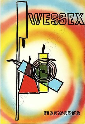 """WESSEX Brand Fireworks #2 - POSTER 13x19"""" -  England"""