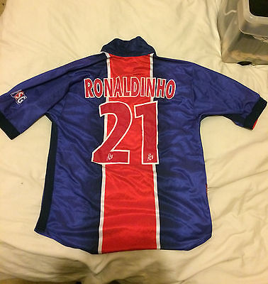 RONALDINHO #21 Paris Saint Germain PSG 2000-2001 Home Football Shirt (M)