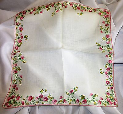 Pink & White Spring Floral Vintage Linen Handkerchief Hand Rolled