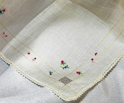 Hand Embroidered Floral Vintage Handkerchief Knot Work Crochet Lace Trim
