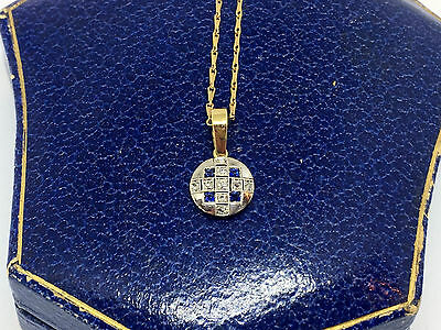 Lovely 18ct White Gold Sapphire & Diamond Art Deco Pendant and Chain