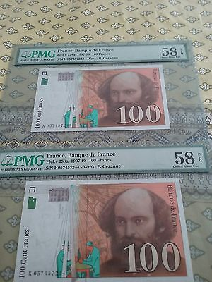 France 100 Francs consecutive PMG 58 2 notes