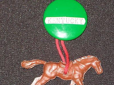 Vintage 1940's-50's Kentucky Derby metal Button Pin by BB Co. with plastic horse