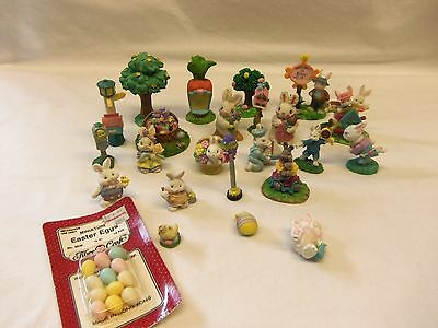 Lot of 20+ Miniature resin Easter Village BUNNIES & ACCESSORIES