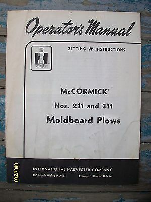 Original IH International Harvester Moldboard Plows Nos. 211 & 311 Manual