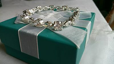 Sparkling Diamonesque Cubic Zirconia Sterling Silver bracelet. New with box.
