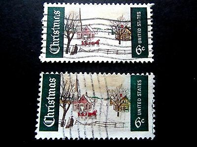 US. #1384 Used/Fine, 1969 Christmas stamps, notable color difference, sold as is