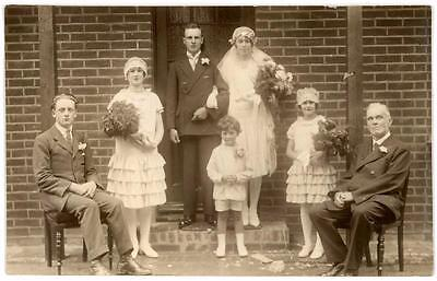 1920's FLAPPER DRESS WEDDING GROUP ART DECO REAL PHOTO POSTCARD BRIGHTON SUSSEX