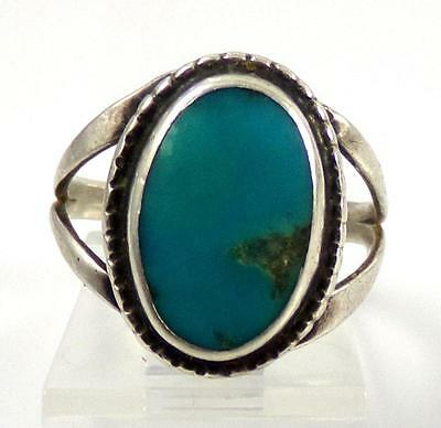 Native American Sterling Silver Turquoise Rope Ring Size 6.5