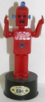 Vintage RED ROBOT Push Puppet Imperial Hong Kong Plastic Space Toy