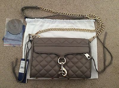 New Rebecca Minkoff Quilted Mini Mac Taupe Leather Bag Cross body