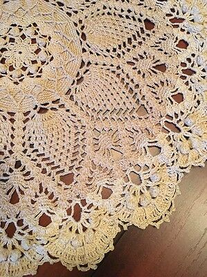 "NEW Handmade Detailed Crochet Doily 21.5"" Beige two tone color L@@K"