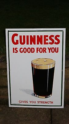 "1980s Large HEAVY ENAMEL ""Guinness Is Good for You"" SIGN  by Garnier  Beer glass"