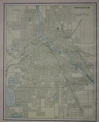 1891 Minneapolis, Minnesota Color Atlas map**  St. Paul on Back..  128 Yrs-old