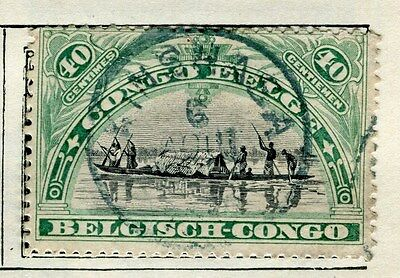 BELGIUM CONGO;  1910 early classic pictorial issue  40c. used,  Postmark