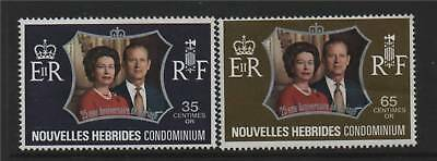 New Hebrides (French) 1972 Silver Wedding SG F187/8 MNH