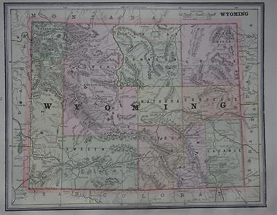 1891 Wyoming Antique Color Atlas Map** ...with area & Pop. .... 126 years-old!!