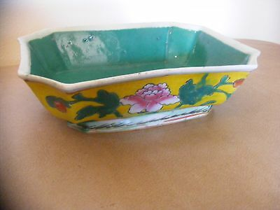 Vintage Chinese Porcelain Enamel Painted Floral Rose Octagon Bowl Planter Bonzai