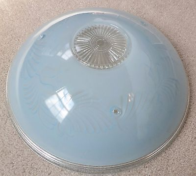 Vintage Blue 3 Chain Ceiling Fixture Glass Shade