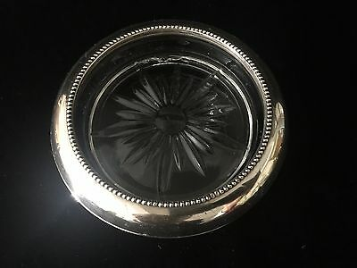 Vintage Frank M. Whiting & Co. Sterling Silver And Crystal Coaster #05